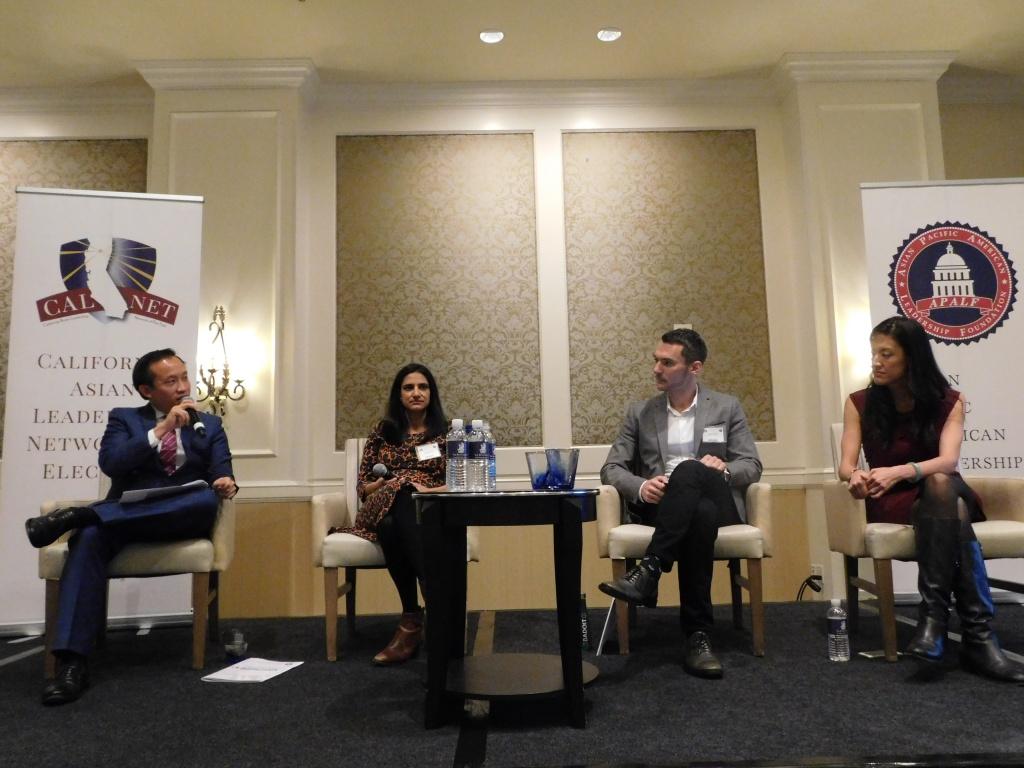 Technology Panel: From Left to Right: Moderator Assemblymember David Chiu, Eva Behrend - Uber, David Owen - AirBnB, Annabel Chang- Lyft